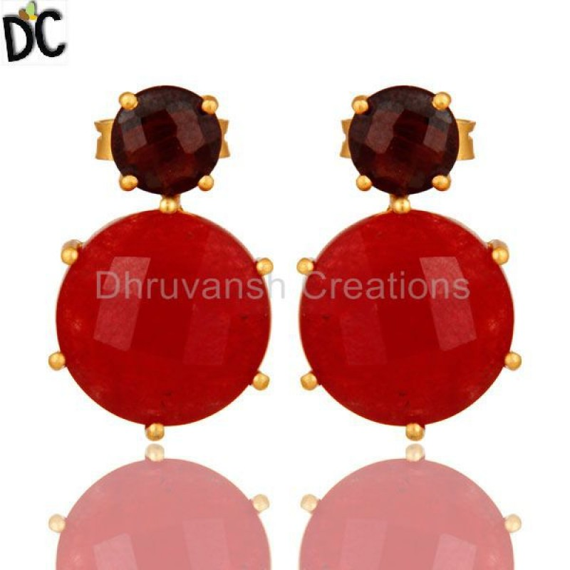 925 Silver Prong Set Garnet And Red Aventurine Gemstone Stud Earring