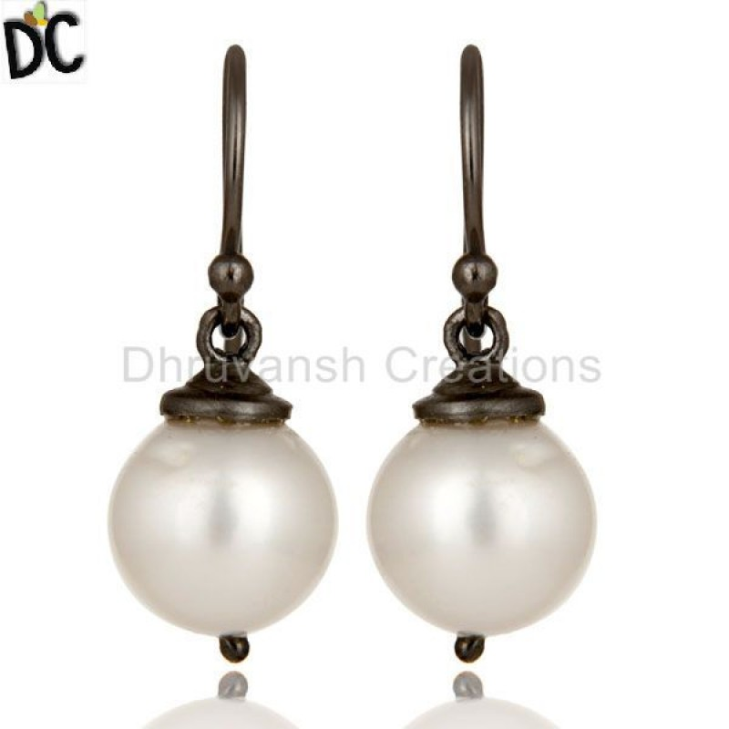 925 Silver White Pearl Gemstone Earring girls jewelry Manufacturer