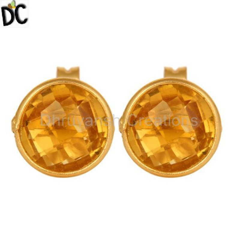 925 Silver Hydro Citrine Gemstone Stud Earring jewelry Wholesaler
