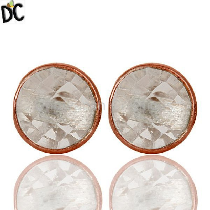 925 Silver Round Cut Crystal Quartz Gemstone Stud Earrings Jewelry