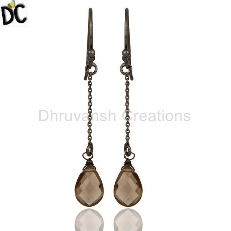 Sterling Silver Chain Style Smokey Quartz Earrings jewelry Supplier