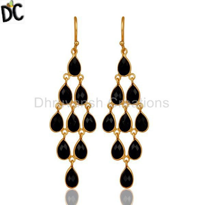 Sterling Silver Black Onyx Gemstone Dangle Earrings jewelry Supplier