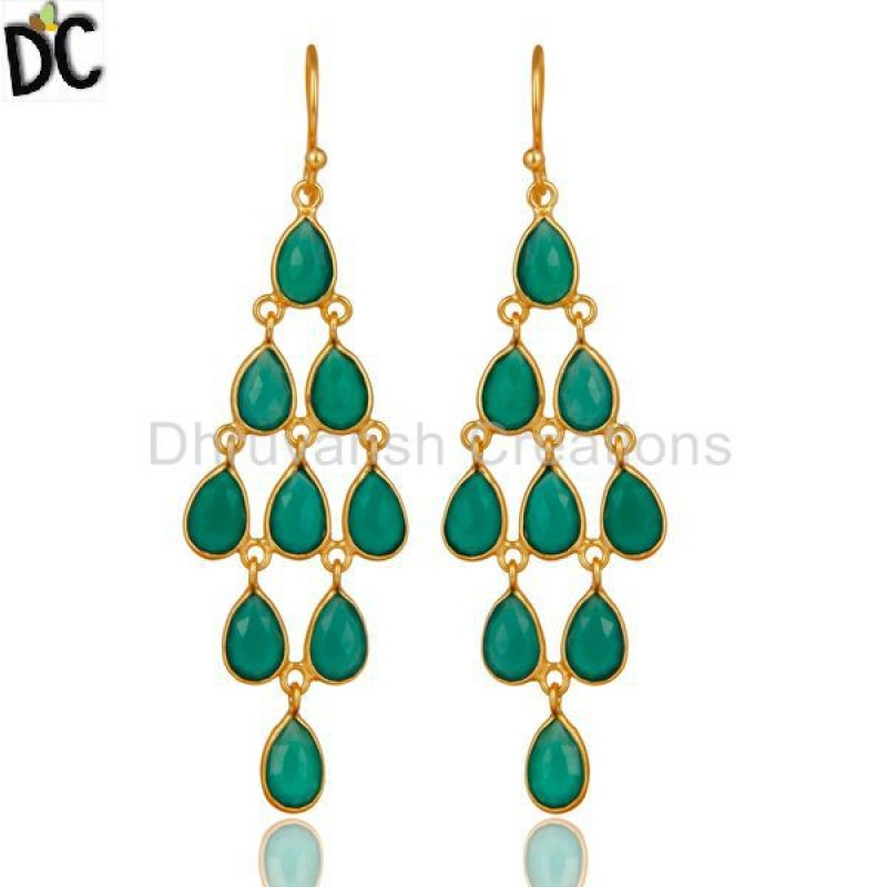 Gold Plated 925 Sterling Silver Green Onyx Gemstone Dangle Earrings