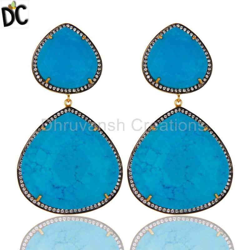 925 Silver Turquoise & Cz Gemstone Dangle Earring Manufacturer