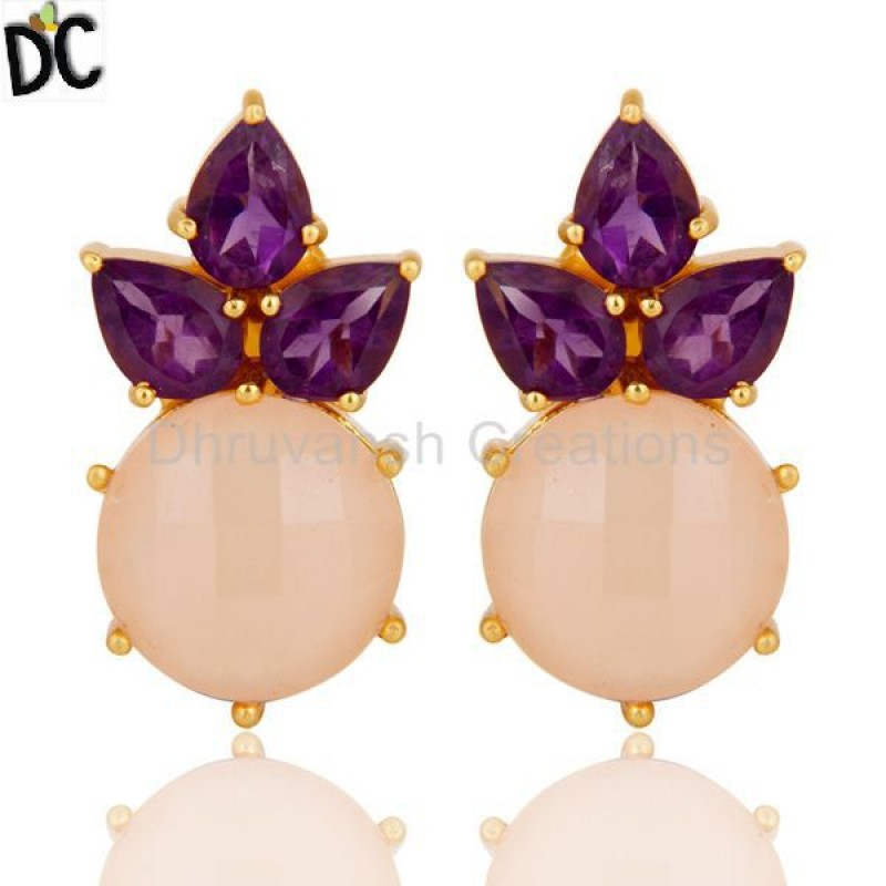 Gold Plated 925 Silver Amethyst And Chalcedony Gemstone Stud Earrings