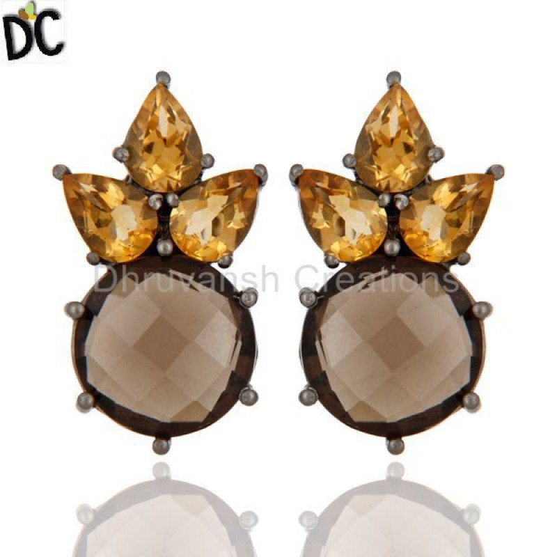 Sterling Silver Smoky Quartz And Citrine Gemstone Stud Earring jewelry