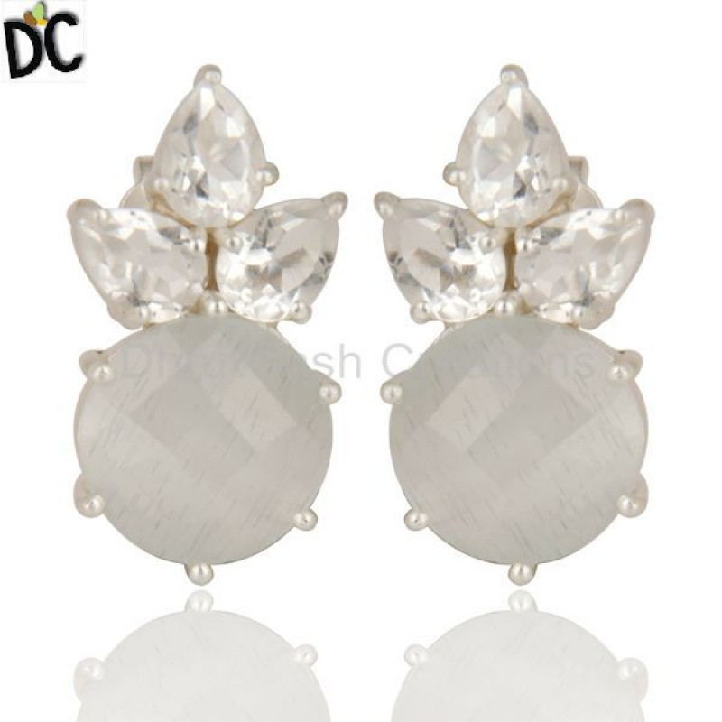 925 Silver Moonstone & Crystal Quartz Gemstone Stud Earring jewelry
