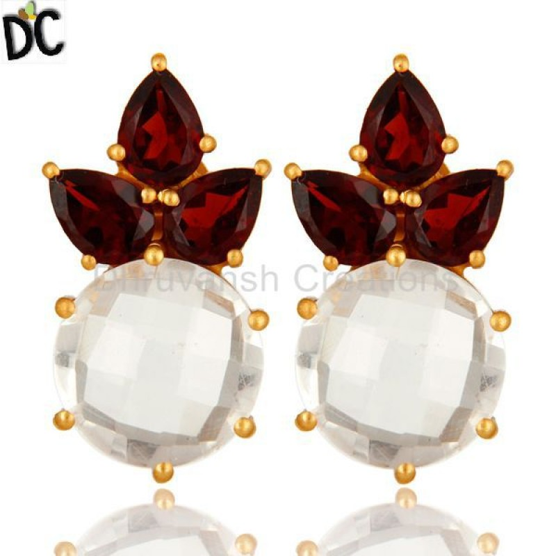 Gold Plated 925 Silver Garnet And Crystal Quartz Gemstone Stud Earring