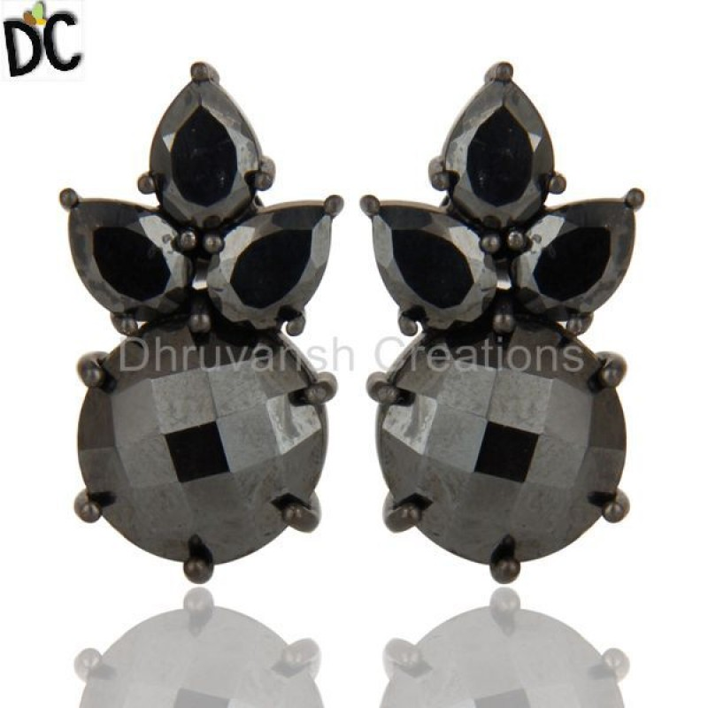 Sterling Silver Handmade Hematite Gemstone Set Stud Earrings Supplier