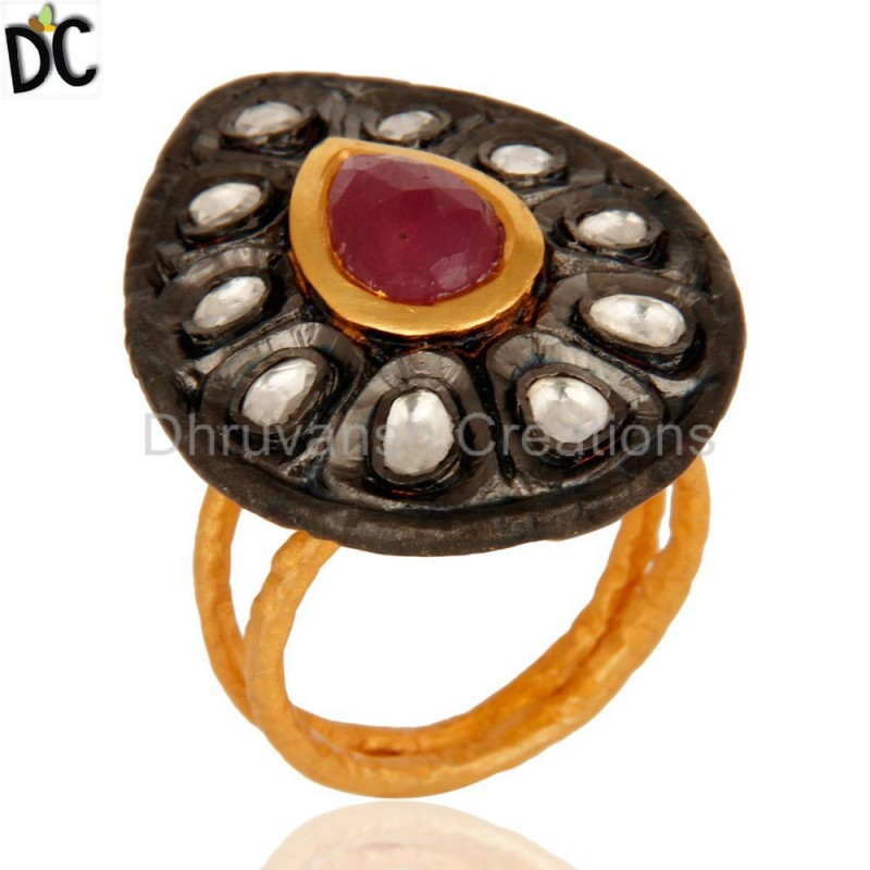Silver Ruby And Crystal Gemstone Ring Manufacturer of Gemstone Jewelry