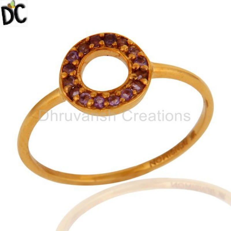 Solid Gold Plated Amethyst Gemstone Ring Manufacturer of Gold Jewelry