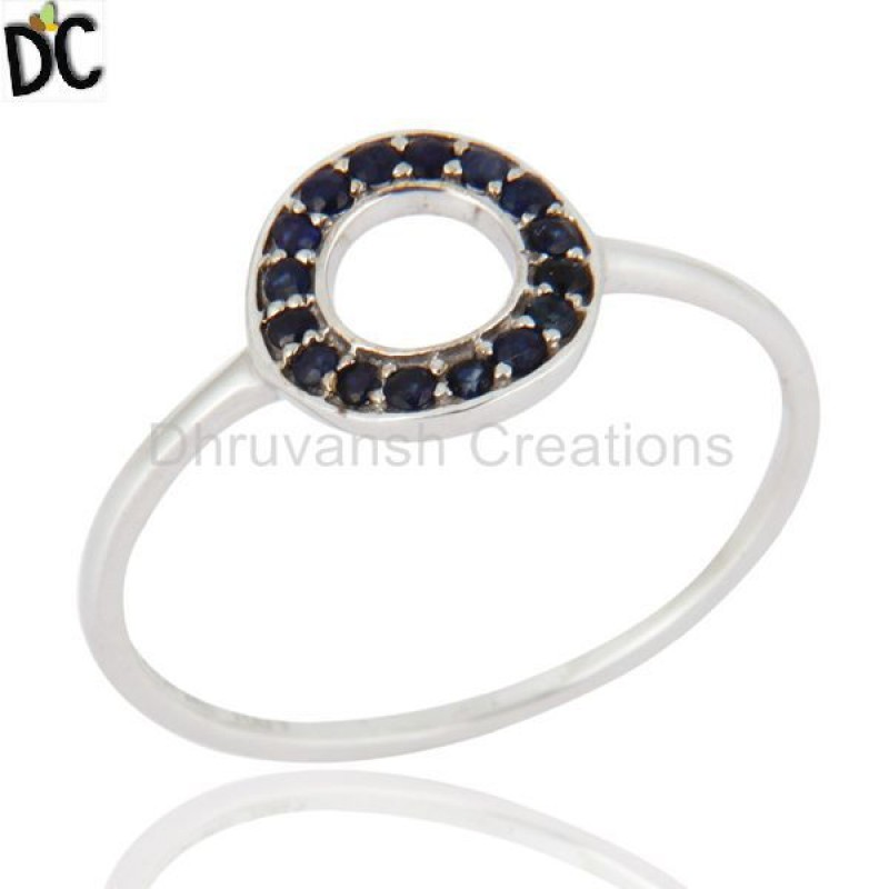 9k Solid Gold Blue Sapphire Gemstone Ring Manufacturer of Gold Jewelry