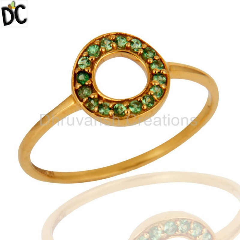 9K Solid Yellow Gold Tsavorite Designer Wedding Ring gemstone jewelry