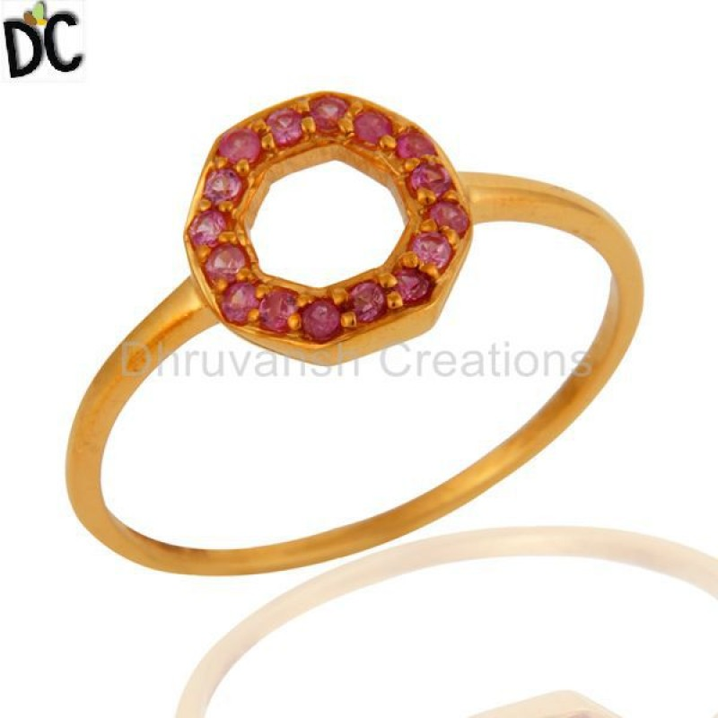 Solid Gold Pink Sapphire Gemstone Engagment Ring Jewelry Manufacturer