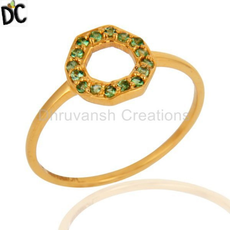Tsavorite And Garnet Gemstone Ring Manufacturer of Solid Gold Jewelry