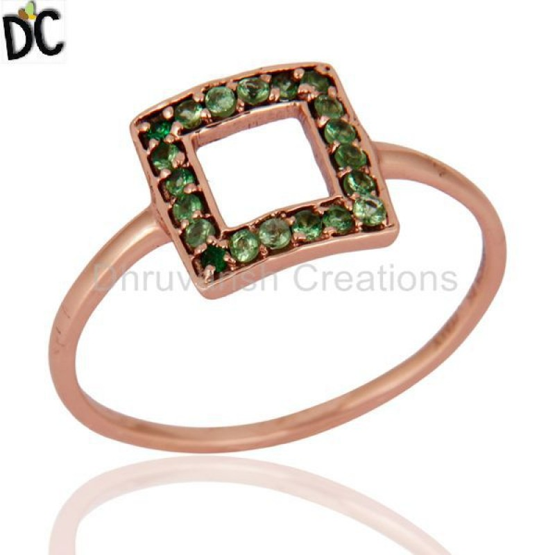 Tsavorite And Garnet Gemstone Solid Rose Gold Ring Jewelry Wholesaler