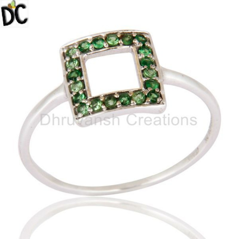 Solid White Gold Tsavorite Gemstone Ring Manufacturer of Ring Jewelry