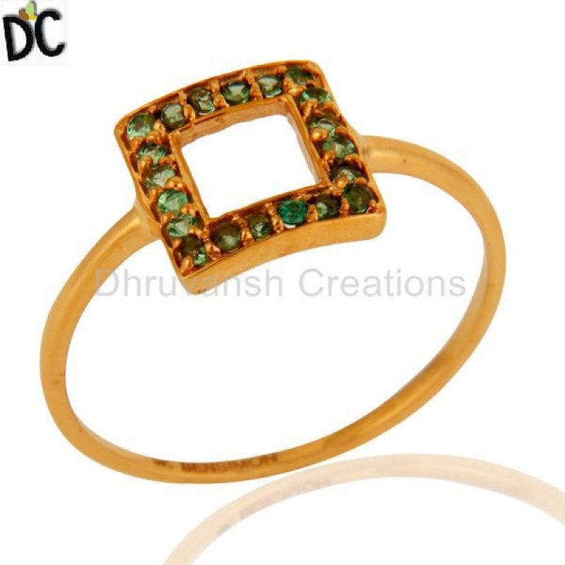 9k Solid Gold Tsavorite And Garnet Gemstone Ring Jewelry Manufacturer