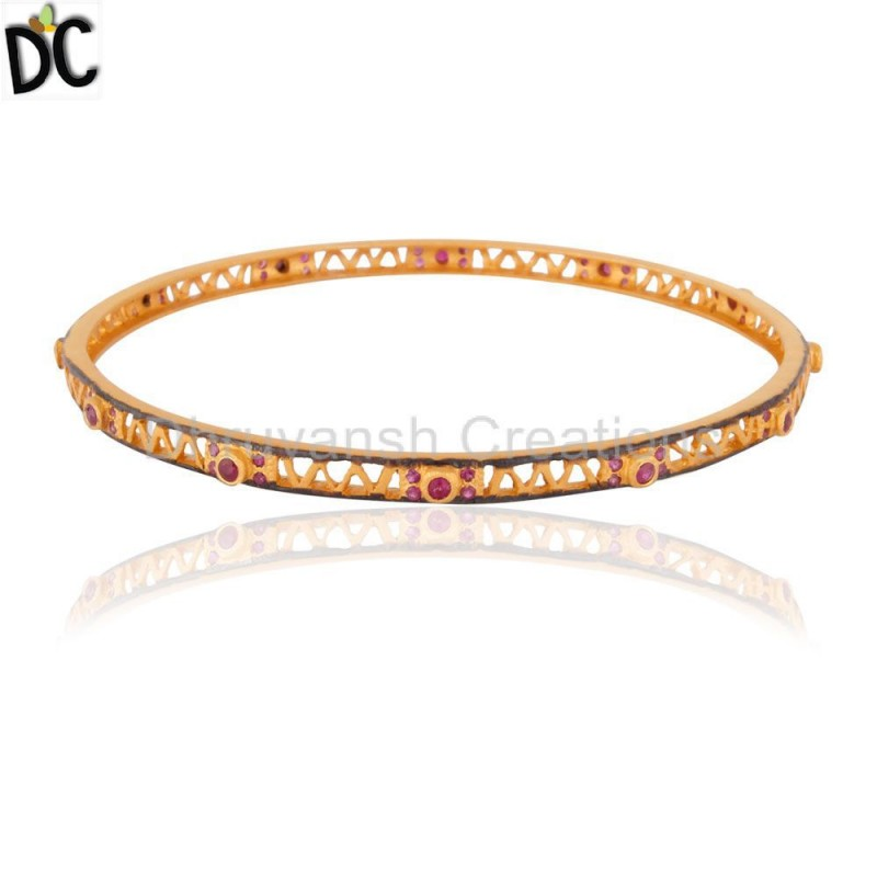 Gold Plated Silver Ruby Gemstone Bangle Manufacturer Gemstone Jewelry