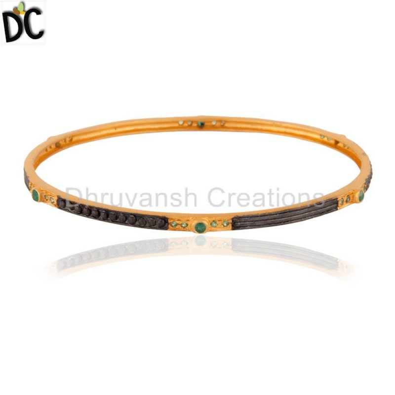 Gold Plated Sterling Silver Tsavorite Gemstone Bangle jewelry Supplier