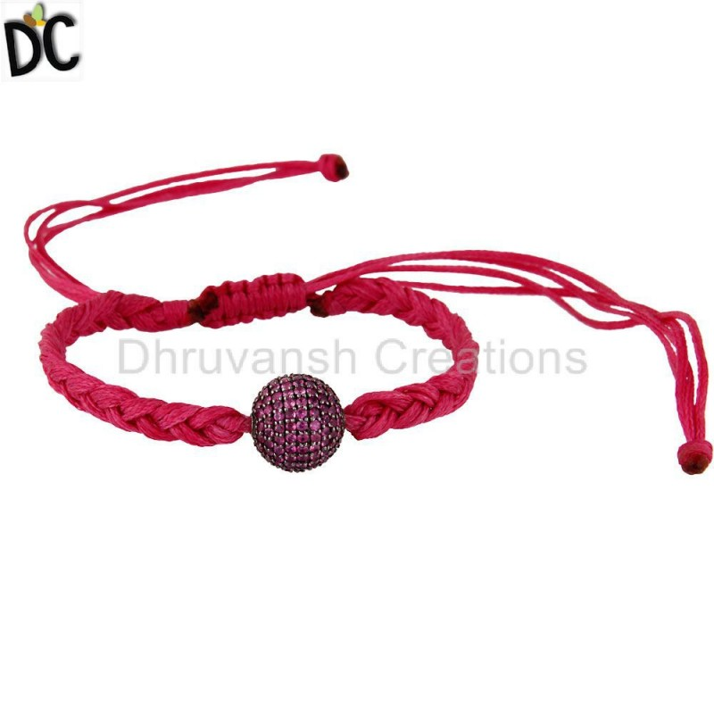 925 Sterling Silver Ruby Gemstone Macrame Bracelet Jewelry Supplier