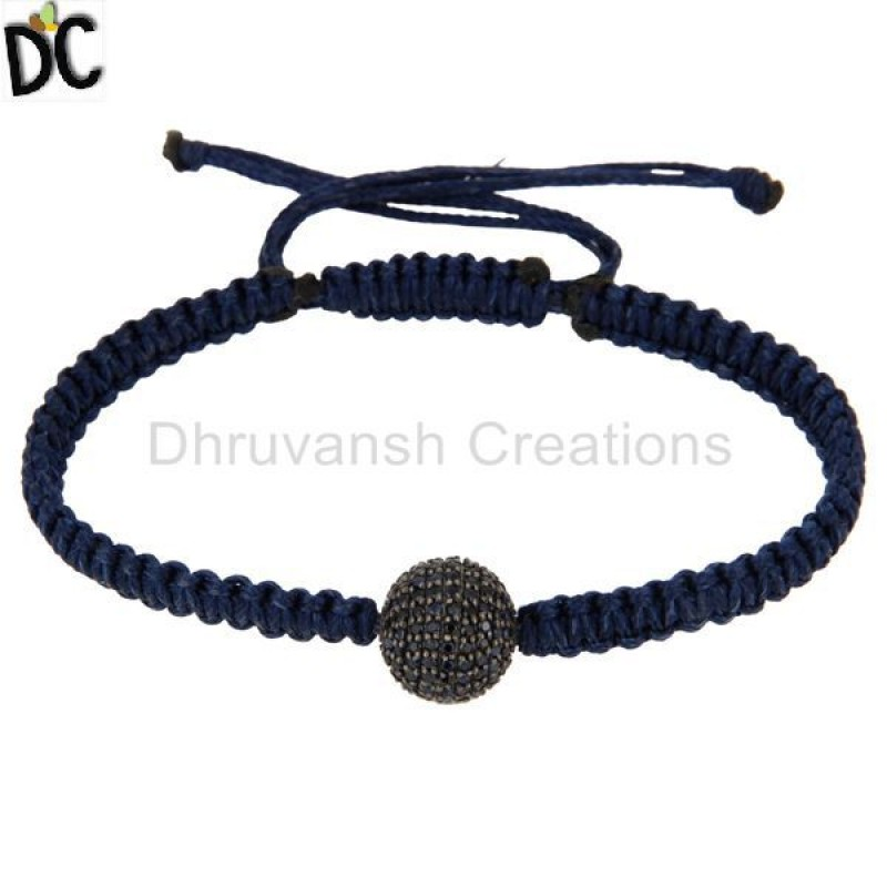 Blue Sapphire Gemstone 925 Silver Macrame Bracelet jewelry Supplier