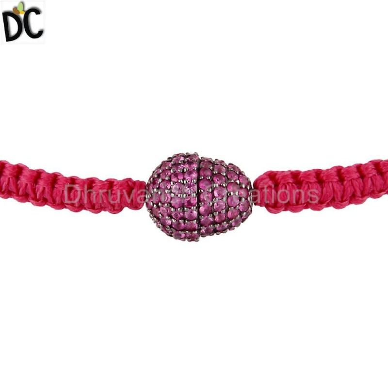 Pink Sapphire Gemstone Sterling Silver Bracelets jewelry Manufacturer