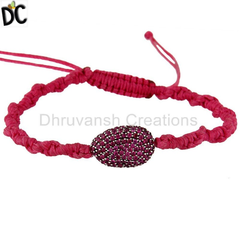 925 Sterling Silver Ruby Gemstone Macrame Bracelet jewelry wholesaler