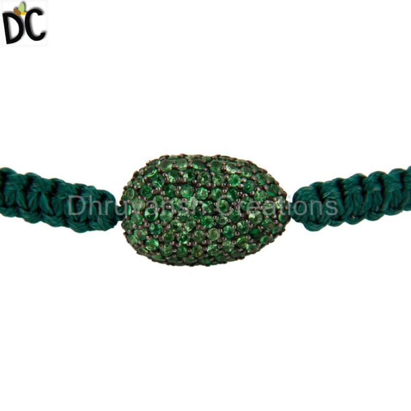 925 Silver Tsavorite Gemstone Bracelet Customized Jewelry Manufacturer