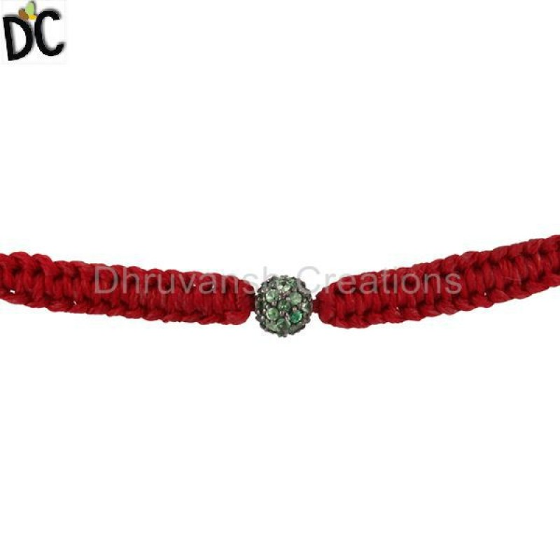 Sterling Silver Tsavorite Gemstone Macrame Bracelets jewelry Supplier
