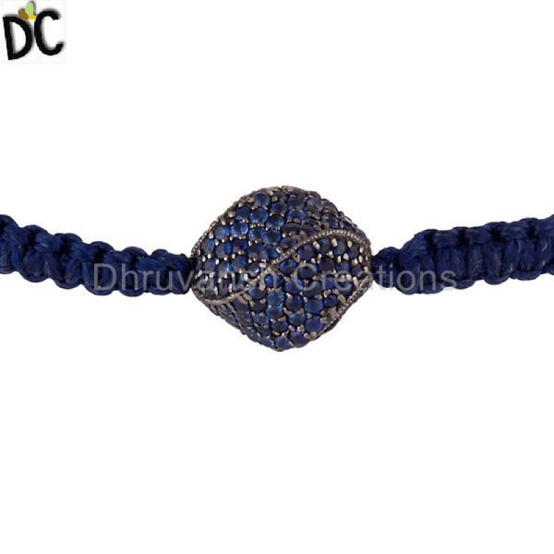 Blue Sapphire Gemstone 925 Silver Macrame Bracelets jewelry Supplier