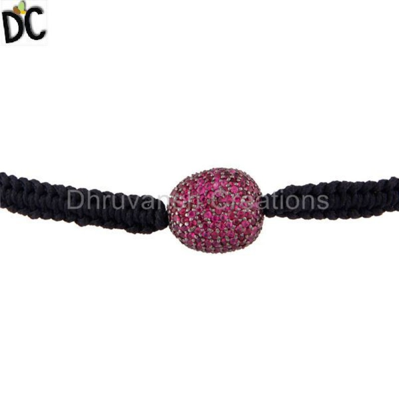 Ruby Gemstone Beads Macrame Bracelet Silver jewelry Manufacturer