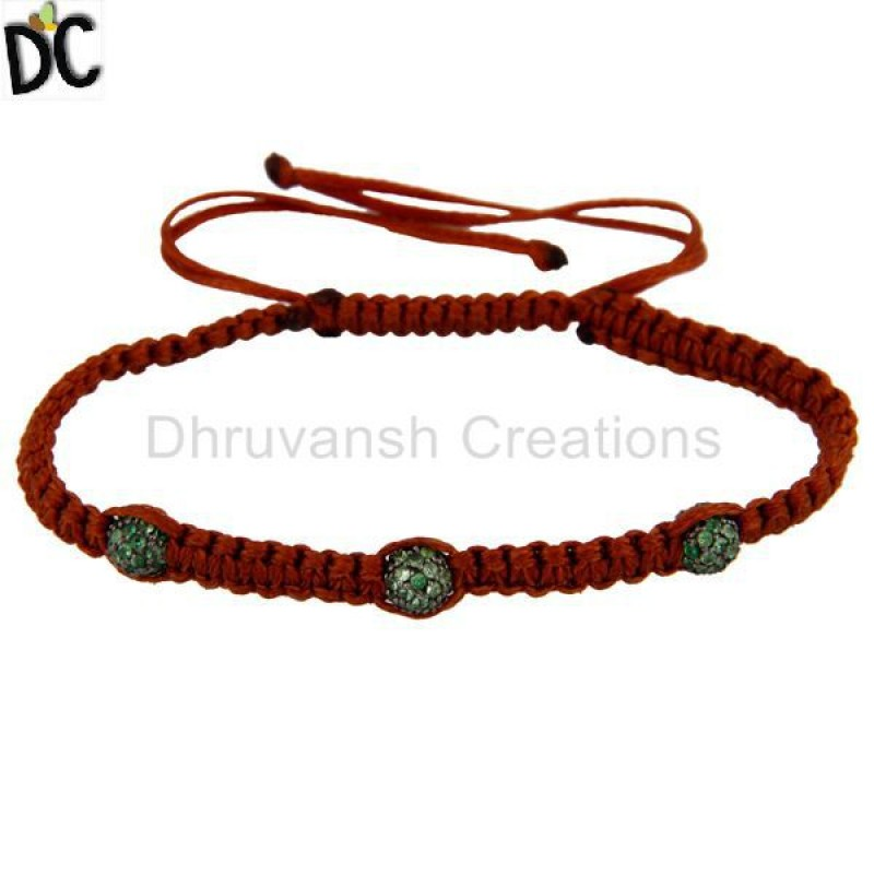 925 Silver Tsavorite Gemstone Beads Macrame Bracelet jewelry Supplier