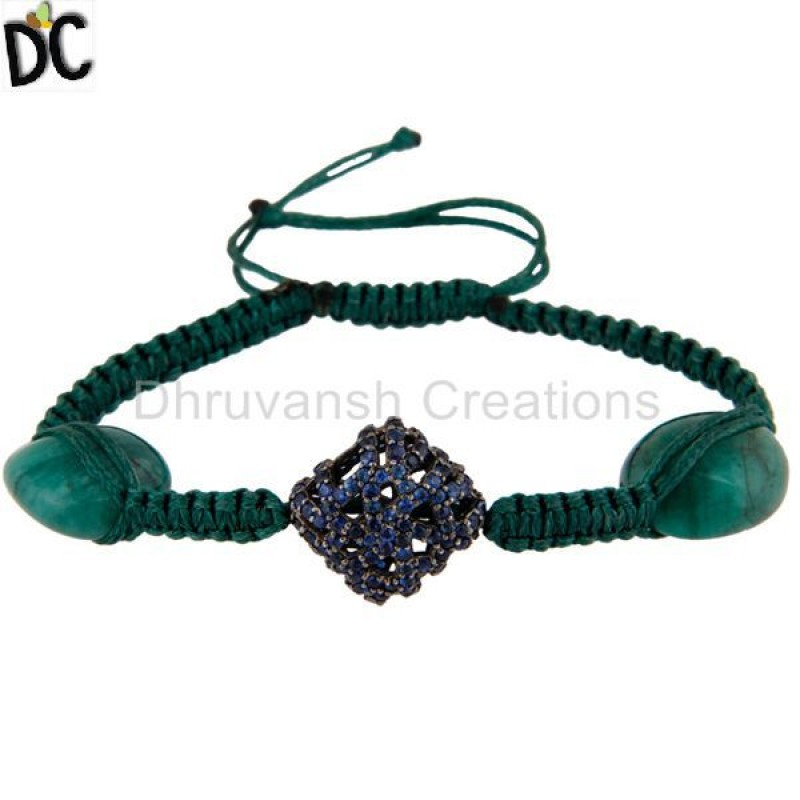 Blue Sapphire And Emerald Gemstone Beads Bracelet 925 Silver jewelry