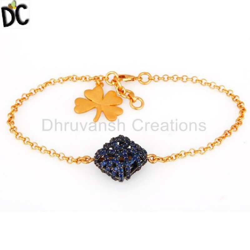 Gold Sterling Silver Charm Blue Sapphire Gemstone Bracelets jewelry