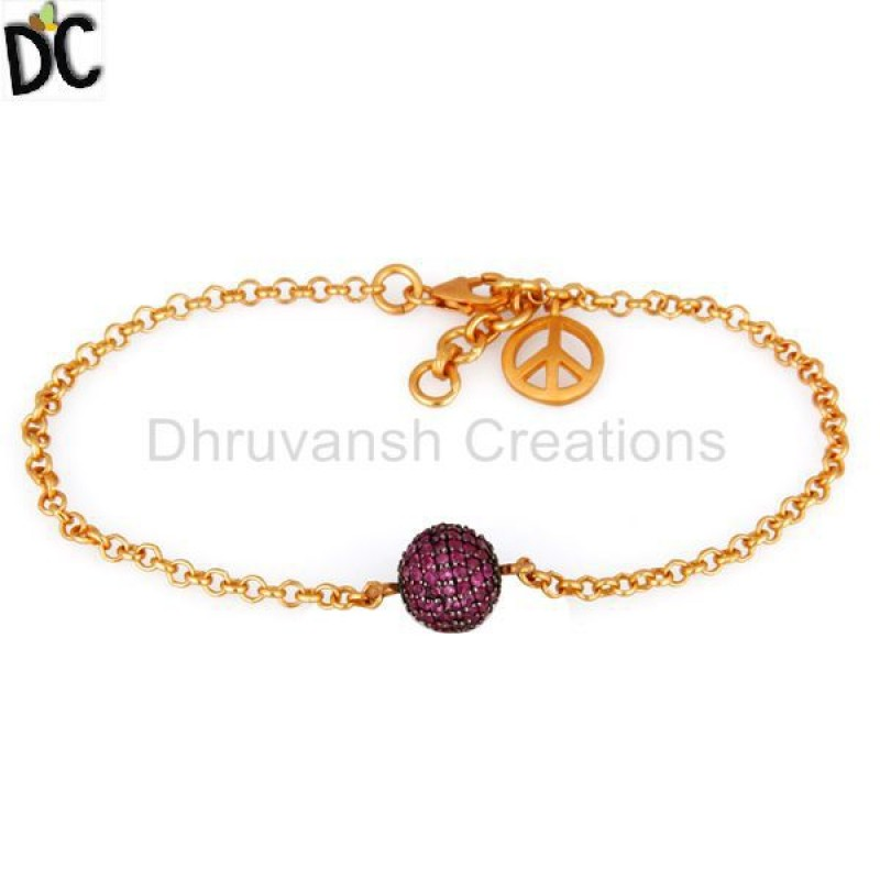 925 Sterling Silver Ruby Gemstone Bracelets Gold Plated jewelry
