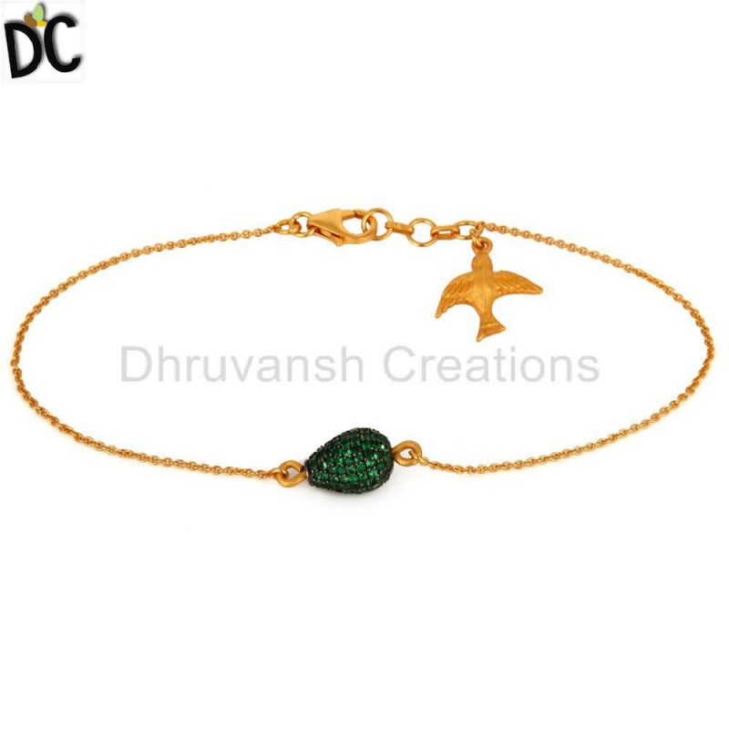 Gold Plated Silver Tsavorite Gemstone Bead Bracelet jewelry Wholesaler