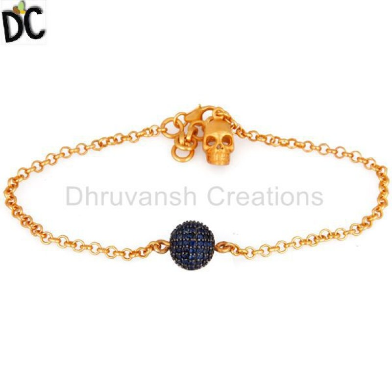 Blue Sapphire GemstoneGold Plated Sterling Silver Bracelet jewelry