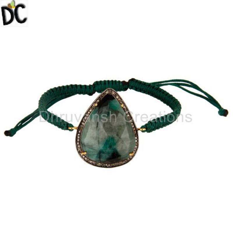 Emerald Gemstone Sterling Silver Diamond Macrame Bracelet Wholesaler