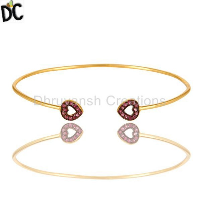 Pink Sapphire Gemstone Bangle Jaipur Silver jewelry Manufacturer