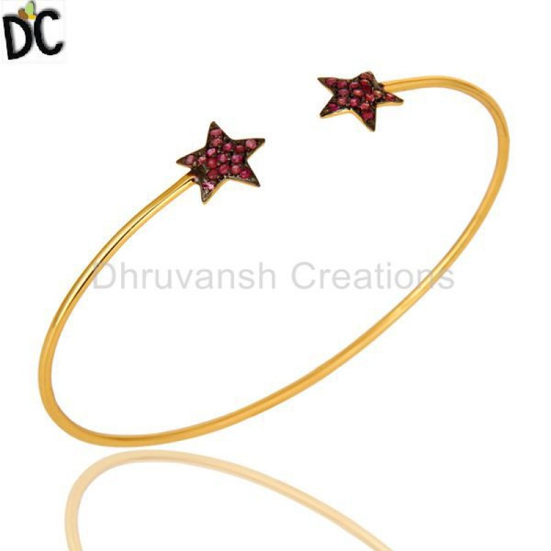 Gold Plated Pink Sapphire Gemstone Bangle silver jewelry Manufacturer
