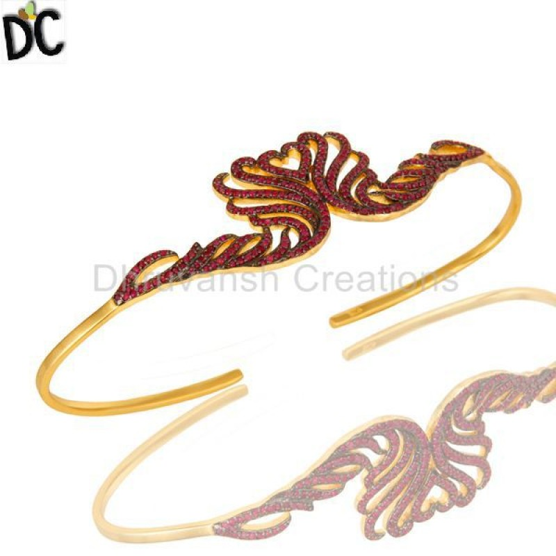 Ruby Gemstone Bracelet Bangle Gold Plated Silver wholesale jewelry