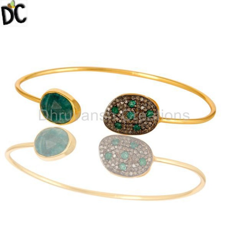 Emerald And Pave Diamond Bangle Silver handmade jewelry Manufacturer