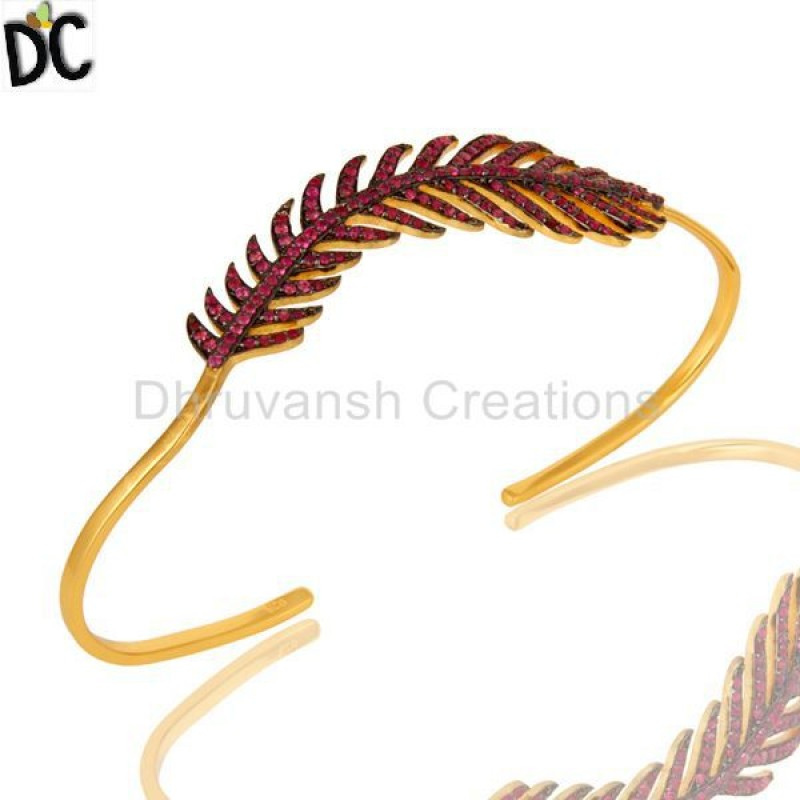 Ruby Gemstone Bracelet Gold Plated 925 Silver jewelry Manufacturer