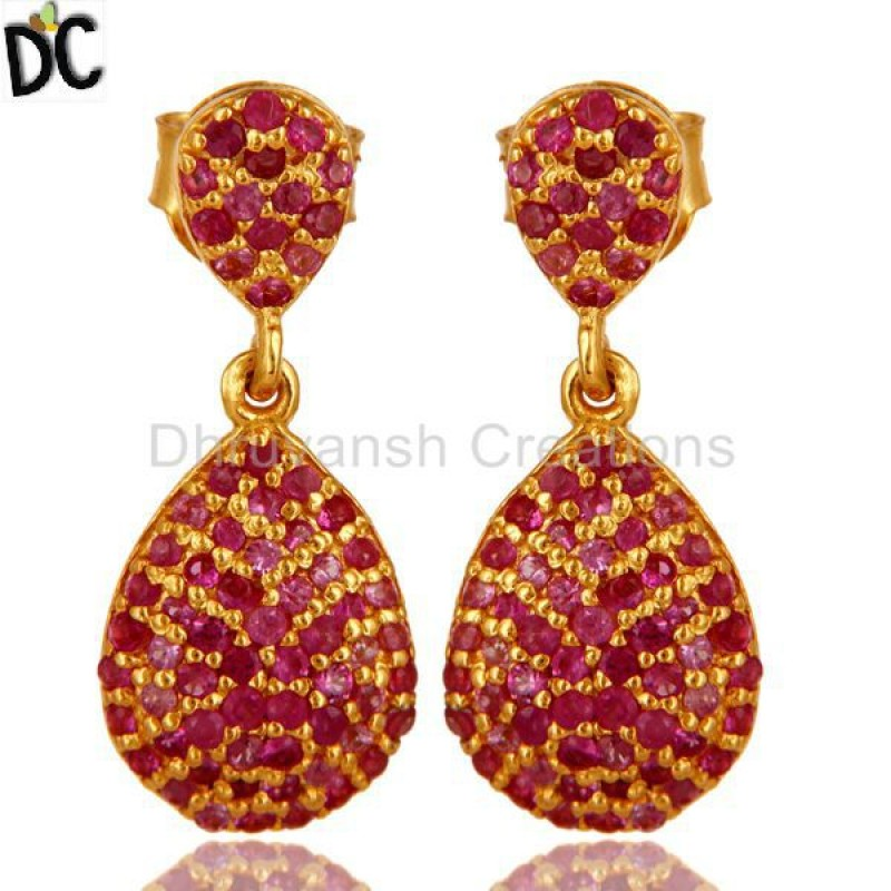Gold Plated 925 Silver Ruby Gemstone Earring jewelry Manufacturer