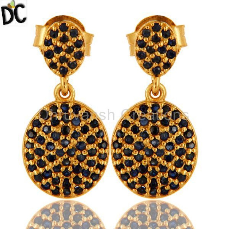 Blue Sapphire Gemstone Gold Plated Earring wholesale silver jewelry