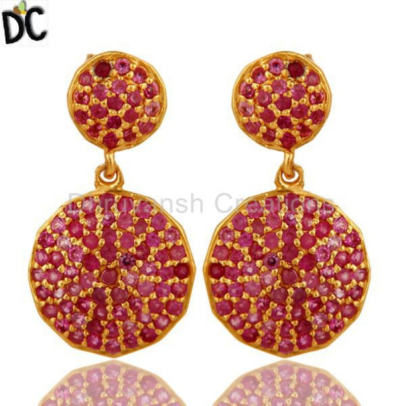 Gold Plated Sterling Silver Ruby Gemstone Earring Jewelry Supplier