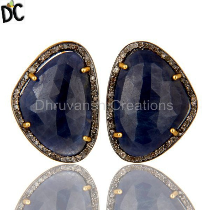 Gold Plated 925 Silver Blue Sapphire Gemstone Earring Diamond jewelry