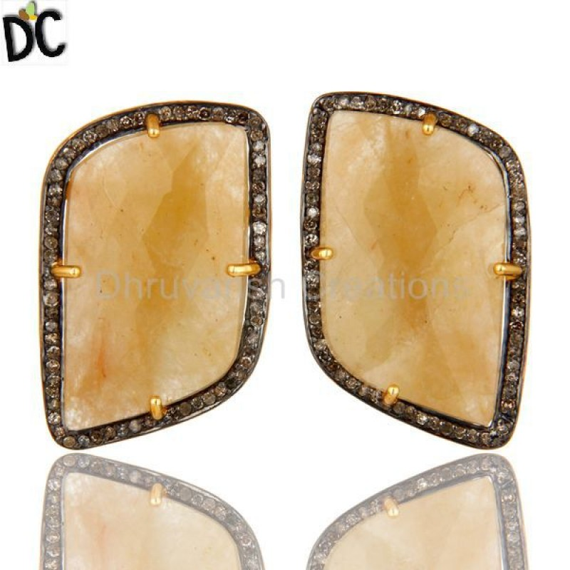 Gold Plated 925 Silver Diamon Yellow Sapphire Stud Earrings jewelry