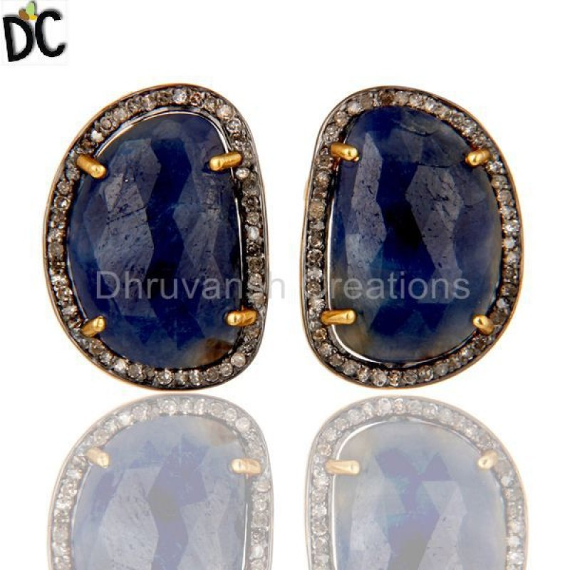 Yellow Gold Plated 925 Silver Blue Sapphire Diamond Earrings jewelry